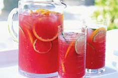 Sangria Punch – There's nothing like sangria to add a refreshing chill to the summer heat. This fruity cranberry-citrus punch has no alcohol and is made with COUNTRY TIME Lemonade & cranberry juice, s (Pour Drink Punch Recipes) Party Drinks, Cocktail Drinks, Fun Drinks, Cold Drinks, Frozen Cocktails, Mixed Drinks, Ginger Ale, Refreshing Drinks, Summer Drinks