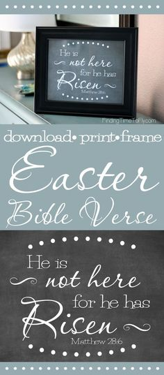 Love this printable Bible verse for Easter! He is not here for he has risen. Matthew sayings for letter boards Free Printable Bible Verse for Easter – He Has Risen and Redeemer Lives Easter Scriptures, Easter Bible Verses, Easter Quotes, Printable Bible Verses, Easter Sayings, Easter Printables, Free Printables, Party Printables, School Door Decorations
