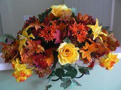 Cemetery/Memorial Saddle for Headstone/Gravestone Fall Flowers for Autumn via Etsy