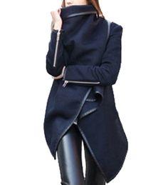 Damen Mode Pop Damen Woll Herbst-Winter-Warm Zipper PU Randgraben-Mantel-Jacke Outwear: Amazon.de: Bekleidung