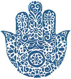Hand of Fatima, in blue