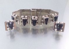 Signed Sterling Mexico Bracelet and Earring set with Carved Faces. Mexican 925 Silver Bracelet & Earring Set. Black Faces Carved. Plato (65.00 USD)