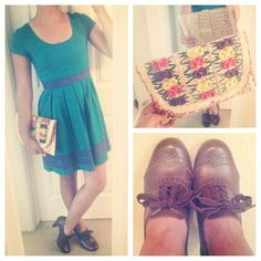 Date outfit. High heeled oxfords, cute dress and a fun clutch.