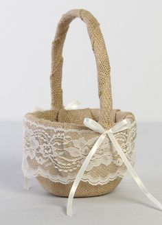 DB87FGB  Rustic burlap and lace flower girl basket. Burlap wedding.