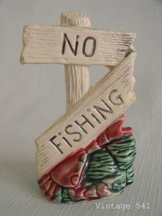 Vintage Aquarium Decor Crab with No Fishing Sign