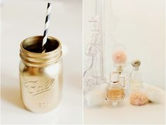 spray painted jars with cute straws for drinks.