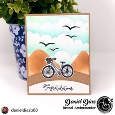 """Great card from our talented designer !• @danieldiazb88 Hello everyone... hope you are all having a wonderful weekend 🤩☀️ Today I am showing you a simple@card I made with the awesome Stamp Set called """"Spring Stroll"""" from @joyclairstamps  I really love that Stamp Set ❤️ #joyclairstamps #joyclairdesigns #joyclairdesignteam #dudescrafttoo #malecrafter #cardinspiration #cardmakingsuperpower #cardmaking #cardmakingideas #cardmakers #cardmakersofinstagram #paper #papercraft #papercrafting… O Design, Card Maker, Hello Everyone, Cardmaking, Congratulations, Place Card Holders, Joy, Stamp, Simple"""