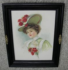 BEAUTIFUL VICTORIAN LADY WITH BONNET ~ RED CARNATIONS ~ BLACK SOLID OAK FRAME ~  #Realism