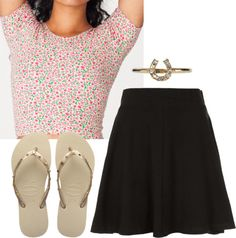 Outfit with Skater Skirt by stilababe09style featuring havaianas flip flops