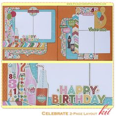 Celebrate 2-Page Layout Kit, complete with instructions, by PaisleysandPolkaDots.com for a limited time featured at www.scrapclubs.com
