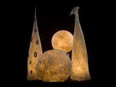 Felted wool 'moon' lamps, handmade in Iceland.