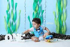 Cake smash ocean decor first birthday under the sea theme