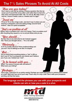 7-Sales-Phrases-To-Avoid-MTD-Sales-Training1-723x1024 Insurance Marketing, Sales And Marketing, Business Marketing, Online Marketing, Digital Marketing, Marketing Ideas, Cold Calling, Writing Jobs, Writing Desk