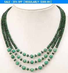 4mm-5mm 3 Strand Faceted Emerald Gemstone Beaded Necklace -Free Matching Earrings *************************************************************************************************** *Stone : Emerald *Origin- Brazilian *Treatment - Enhanced *Cut-Round *Dimensions - 4mm-5mm This is a