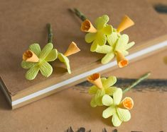 Daffodils hair bobby pins set  miniature by GentleDecisions, $27.00