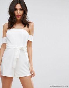 5aca249e321 Pretty Little Thing White Bardot Tie Detail Playsuit Size UK 10 LF088 BB 18   fashion