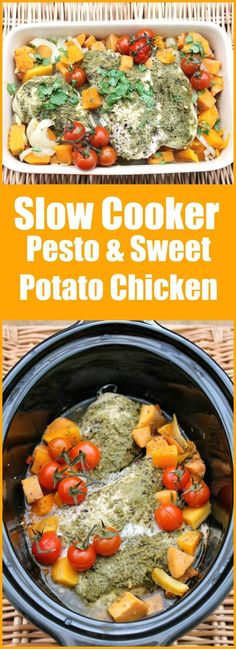 Slow Cooker Pesto and Sweet Potato Chicken - the ideal spring and summer dish to. - Slow Cooker Pesto and Sweet Potato Chicken – the ideal spring and summer dish to make in your cro - Slow Cooker Fajitas, Slow Cooker Enchiladas, Slow Cooker Huhn, Slow Cooker Lasagna, Slow Cooker Roast, Meatballs Slow Cooker, Chicken Casserole Slow Cooker, Slow Cooking, Slow Cooked Meals