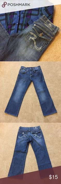 """Rock & Republic Rider Jeans Rock & Republic Rider Jeans. Men's 32x30 jeans worn by a female. Hemmed to 27"""" inseam. 34"""" around the top, 20"""" across hips, 10.5"""" across thigh, 9"""" across bottom. 1216/100/11917 Rock & Republic Jeans Straight"""