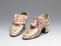 Pair of shoes | V Search the Collections - Brussels, Belgium, kid leather with a painted design and silk satin covered heel - proof of painted shoes!.   In 1767 Lady Mary Coke recorded in her diary that she had bought six pairs of painted shoes from a shop in Brussels