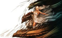 Daenerys Targaryen dragons artwork Free HD Wallpaper