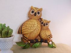 Vintage Owl Decor Kitsch Wall Hanging by ClairesFaire on Etsy, $16.00