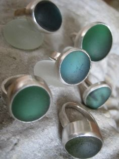 Sea glass rings - lovely!