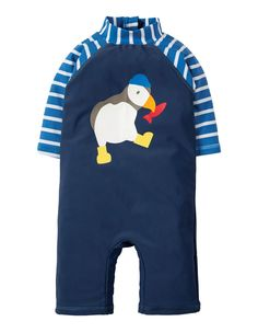 Frugi at Babipur. Keep your baby or toddler safe in the sun with this Frugi Puffin Little Sun-Safe Suit. This rash suit has a navy body, blue and white striped sleeves and a fun puffin on the front. This suit is chlorine-safe with UPF protection. Baby & Toddler Swimwear, Baby & Toddler Clothing, Toddler Outfits, Boy Outfits, Cool Baby, Baby Kind, Baby Set, Kids Tops, Striped Swimsuit