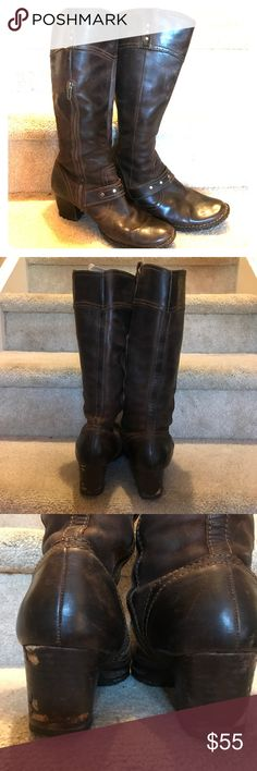 👢👢⚡️Born Tall Distressed Riding  Boots Beautiful Born leather boots. Size 9. True to size. Very good used condition. Scratches on the back of heels shown in the third picture, which is a very cheap and easy fix. Tons of life left, Born's last for years. Very comfortable. Look amazing on! Open to offers. Born Shoes Heeled Boots