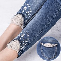 jeans with strass ile ilgili görsel sonucu Billedresultat for drill mujer Risultati immagini per drill mujer Recycle upcycled lace inserts on denim ^ Even though summer is winding down, this could be cute for winter peeking out of the top of some cute sh Denim And Lace, Lace Jeans, Sewing Clothes Women, Diy Clothing, Clothes For Women, Gilet Jeans, Jeans Pants, Adidas Pants, Ankle Pants
