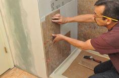 How to Tile a Bathroom, Shower Walls, Floor, Materials pics, Pro-Tips) Bathroom Plumbing, Basement Bathroom, Master Bathrooms, Basement Remodeling, Bathroom Renovations, Bathroom Ideas, Garage Gym Flooring, Shower Remodel, Remodel Bathroom