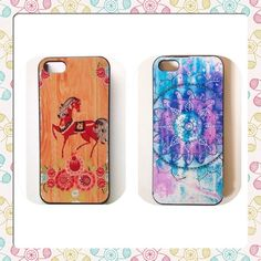 iphone 5 cases  Two Iphone 5 case bundle. Red horse and flowers, wood pattern background. Spiral blue & purple mandala design. ❗️ Has a piece cracked off the side, but still works and will stay on the phone.❗️  ▪️ No Trades ▪️ No PayPal ▪️ Bundle for 15% Discount ▪️ NOT smoke/pet free iphone 5 Accessories Phone Cases