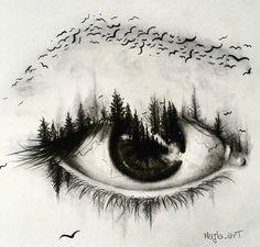 art, eye, and bird image