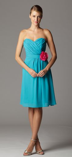 Gathered strapless sweetheart bridesmaid dress with built in waistband.