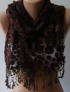 Brown - Elegance  Shawl / Scarf with Lacy Edge