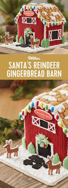 Kids' will be thrilled to decorate this gingerbread reindeer barn. Candy, icing, and fondant add the color and fun. The reindeer and sign icing decorations add the holiday magic. After all, when there are reindeer around, Santa is sure to be watching!
