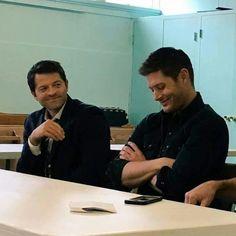Jensen Ackles, Jensen And Misha, Supernatural Pictures, Supernatural Destiel, Supernatural Playlist, Misha Collins, Dean Winchester, The Boy Is Mine, Mark Pellegrino