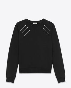 saintlaurent, CLASSIC CREWNECK SWEATSHIRT WITH ZIP Chest IN Black FRENCH TERRYCLOTH