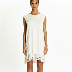 Tata Ivory Burn out Frill Loose Fit Jersey Nightdress - No Frills, Nightwear, Loose Fit, Burns, 18th, Ivory, Tunic Tops, Luxury, Fitness