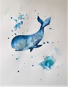 Watercolor whale The post Watercolor whale appeared first on Woman Casual - Tattoos And Body Art Watercolor Whale, Watercolor Tattoo, Watercolor Paintings, Whale Tattoos, Body Art Tattoos, Fabric Painting, Diy Painting, Sunflower Tattoo Shoulder, Aquarell Tattoos