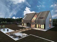 Passivhus; fönster i snedtak; mkt fönster i söder(dock utan solavskärmning); fina materialval; snyggt med trä som löper från vägg till tak