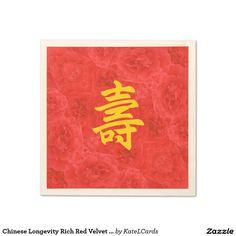 Chinese Longevity Rich Red Velvet Rose Blossoms Standard Cocktail Napkin