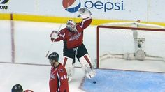 Hockey puck disappears in Holtby's equipment.  Besides winning, this was the best part of the game :)