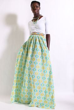 Printed Maxi Skirt w/ Pockets