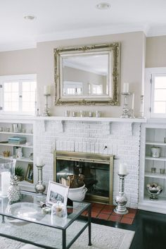 Glam Silver Accents On Rustic Fire Place