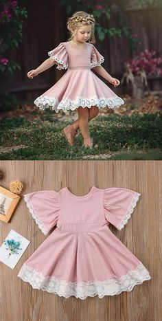 Cute Scoop Neck Short Sleeve A Line Flower Girl Dresses With Lace Applique Baby Girl Dresses Applique Cute Dresses Flower girl Lace Line Neck Scoop Short Sleeve Inexpensive Wedding Dresses, Affordable Bridesmaid Dresses, Baby Girl Fashion, Kids Fashion, Korean Fashion, Womens Fashion, Fashion Tips, Baby Frocks Designs, Baby Dress Design