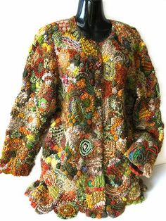 Prudence Mapstone autumn-jacket I really love this! Crochet Coat, Crochet Jacket, Crochet Clothes, Freeform Crochet, Irish Crochet, Crochet Geek, Knitting Patterns, Crochet Patterns, Irish Lace