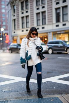 Pam Hetlinger wearing a Glamorous Faux Fur Jacket, Topshop Jeans, Aldo booties, Chanel French Riviera Flap and Asos Leather Gloves.