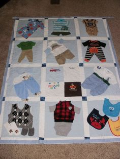 Quilt made from baby clothes clothing quilt Baby clothes Quilt custom made for Dana Baby Clothes Blanket, Old Baby Clothes, Sewing Baby Clothes, Trendy Baby Clothes, Baby Sewing, Sewing Diy, Quilt Baby, Baby Memory Quilt, Boy Quilts