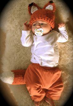 Free knitting pattern for Woodland Fox Baby hat and tail - Kristen Cooper's fox ears come with a matching tail!