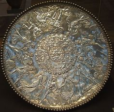 The great dish from the Mildenhall treasure in the British Museum.  The Mildenhall Treasure is a major hoard of highly decorated Roman silver tableware from the fourth-century AD, found at West Row, near Mildenhall in the English county of Suffolk in 1942  reported in 1946.